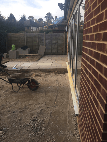 Installing patio in Radlett